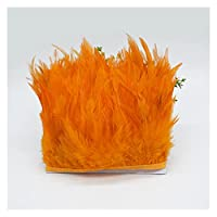 羽毛、ルースターフェザー、49色10メートル酉羽毛トリムハックルフェザーフリンジ10-15cmサドルフェザーリボンチキンフェザートリムドレス (Color : 34 orange, Size : 10 yards)