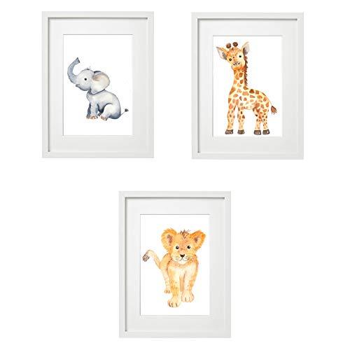 Kinderzimmer Bilder Babyzimmer Poster DIN A4 | Mädchen Junge | Baby Tiere | farbig | Babyzimmer (3er #9)