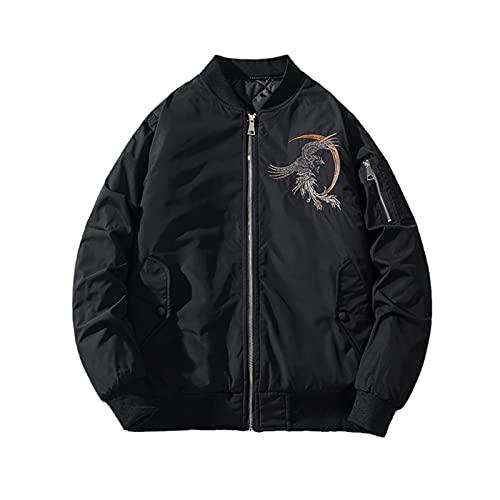 Jacket Men Casual Embroidery Autumn Men Jackets Windbreaker Spring Zipper Bomber Jacket C-70 Black XL Fit 72kg-80kg