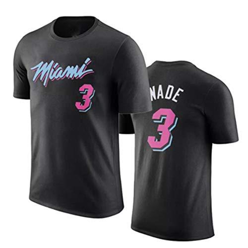 2021 Miami Heat #3 Dwyane Wade #22 Jimmy Butler Men's Baloncesto Camiseta, Hombres Baloncesto Jersey Camiseta Top Sudadera Sweatshirt Sports, Camiseta De Baloncesto De Manga Corta,Negro,M