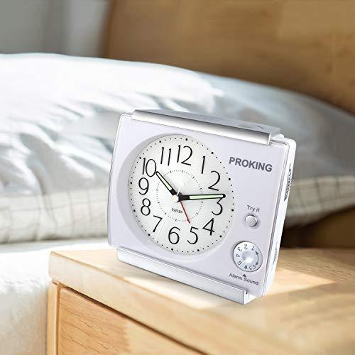 Ayybboo Reveil Matin Sonnerie Reglable Reveil Jour Nuit Éducatif Analogique Réveil à Piles Silencieux Snooze avec Lumineux