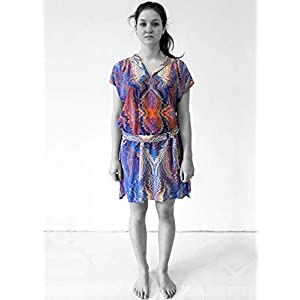 ART-DÉCO Kleid, Tunika mit Gürtel, marmoriert Art Nouveau, Jugendstil