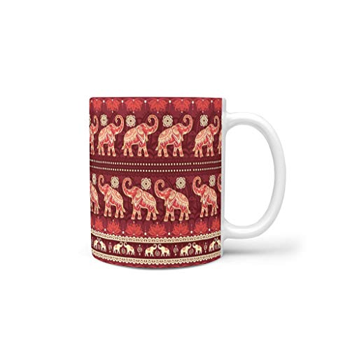 O5KFD&8 11 oz Elephant Getränke Müsli Tasse mit Griff Keramik Personalized Becher - Elephant Freunde Geschenke, Geeignet für Haus verwenden White 330ml