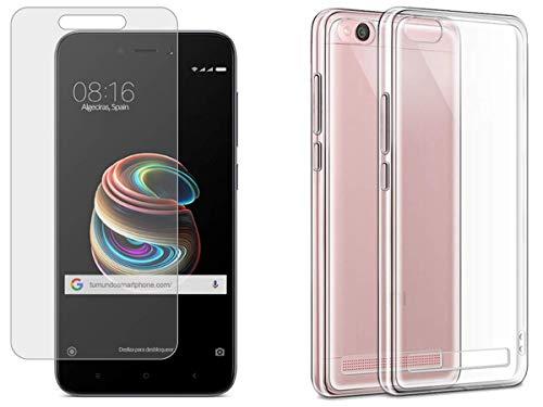 """Pack 2 En 1 Funda Gel Transparente + Protector Cristal Templado para Xiaomi Redmi 5A 5"""""""