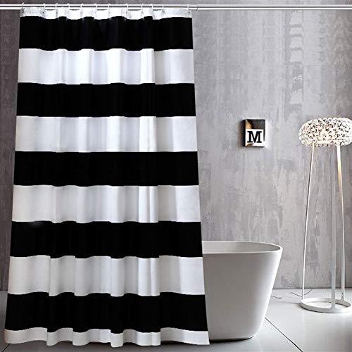 LGANY Bad douchegordijn - stof waterdicht en meeldauw-milieumateriaal gordijnen voor thuis - zwart-witte strepen 180x180cm (71x71inch)