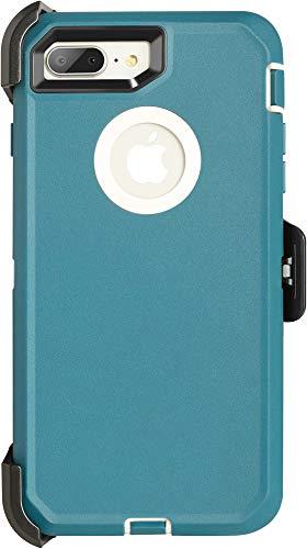Krichit Defender Series Case for iPhone 7 Plus Defender Case Triple-Layer Protection Defense for iPhone 8 Plus Case, Defender Belt Clip Holster (iPhone 7/8 Plus, Blue TL)
