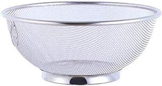 MCE Multifunctionele drainerende mand bowl metalen micro zeefvergiet keuken zeef voor groente fruit (Color : Silver)