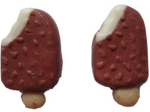 Ohrringe Stecker Ohrstecker handgemachtes Eis mit Schokoladen - Nuss Überzug *588*
