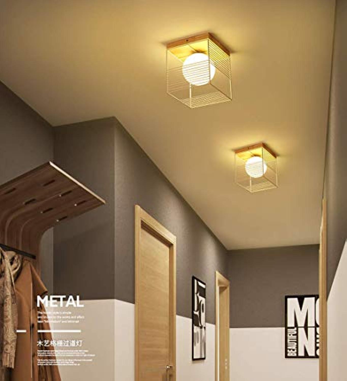 W-LI Rechteckige Deckenleuchte Deckenleuchte Holz Metall Glas Lampe Schatten Flur Korridor Balkon Studie Gang Deckenbeleuchtung Dekoration Beleuchtung E27 1 Birne Wei