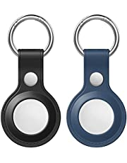 Orchid M Protective Case for AirTag 2021, 2-Pack Genuine Leather Tracker Holder with Key Chain, Easy Carry AirTag Cover for Keys, Backpacks, Liner Bags (Black&Blue)