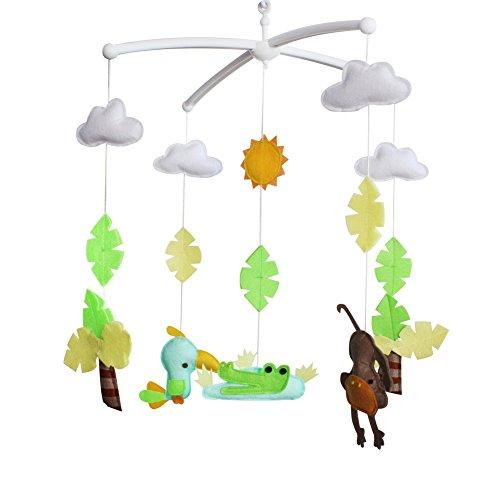 [Pájaros y cocodrilos] Regalo de bebé Decoración de cuarto de niños Juguete para dormir Colgante musical Juguete Cuna Móvil, caja de música aleatoria (Mozart Lullaby o Brahms Lullaby)