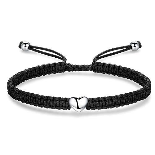 ZENI Heart Bracelet for Women girl, Black Rope Bracelet 925 Silver Handmade Braid Adjustable Bracelet Love Friendship Jewelry Gift