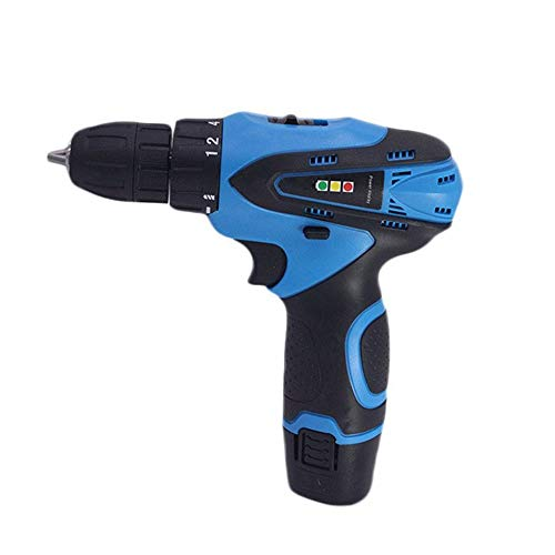 Sturdy Miniature Electric Screwdriver, Rechargeable Hand Drill, Multi-function Household Lithium Drill (Color : Blue)