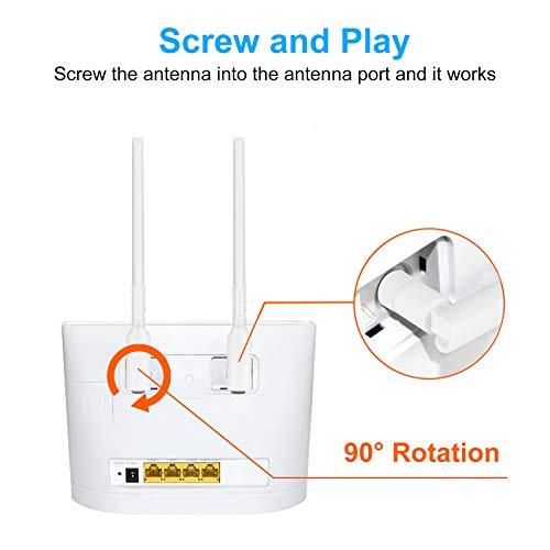 Aigital SMA Antenne 4G LET 10dBi Hochleistung WiFi Antenne Dualband 3G/4G/GSM Omnidirektionale Antenne Signalverstärker für Huawei E5372 E398 E3276 E392 E3272 E8278 etc(2 Pack)