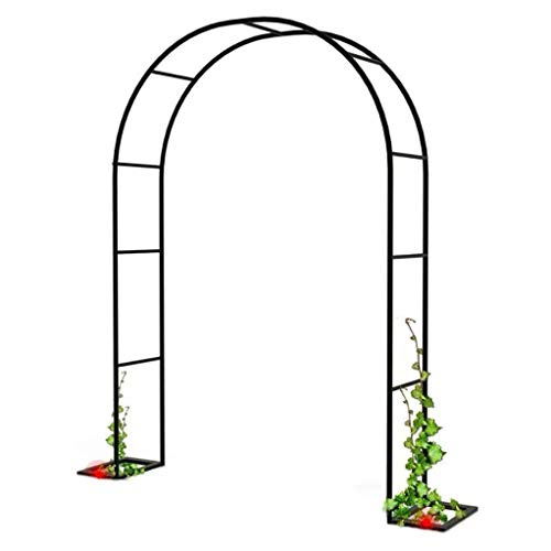 RuBao 1 Set Black Metal Pergola Arbor,Metal Garden Arch Arbor for Climbing Vines and Plants,Weddings Party Decoration,Outdoor Garden Lawn Backyard