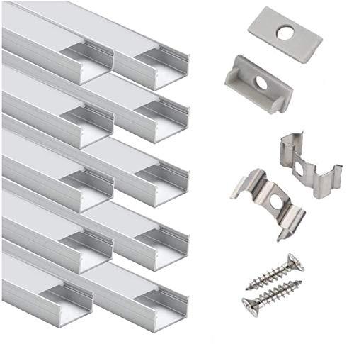 10 pz Profilo in Alluminio U-Figura - Profilo LED per Strisce LED,Compatto Finitura Professionale a Alluminio LED con Tappo laterale terminale,Clip di montaggio,Copertura Opale
