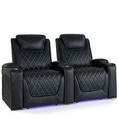 Valencia Oslo Home Theater Seating | Premium Top Grain Leather, Power Recliner, Power Headrest, LED Lighting (Row of 2)