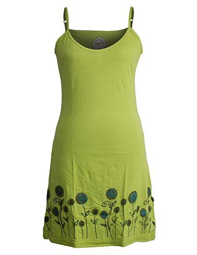 Vishes - Alternative Bekleidung - Besticktes Rosen Baumwoll-Kleid mit verstellbaren Trägern hellgrün 44