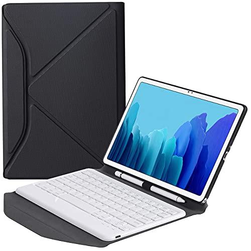 ZOMUN Funda protectora plegable estilo Origami con soporte S-Pen extraíble teclado Bluetooth para Samsung Galaxy Tab A7 10.4 (2020) [SM-T500 / SM-T505]
