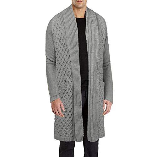 JINIDU Men's Basic Heavyweight Long Cardigan Sweater Chunky Knit Shawl Cardigan Grey