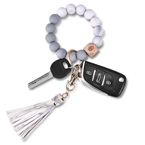 Senidea Schlüsselanhänger Elastisches Armband für Damen Frauen, Silikon Perlen Handgelen Schlüsselbund, Auto Schlüsselanhänger Weiß Weiss