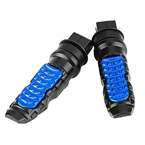 Estriberas: 1 par de pedales traseros de aluminio para motocicleta universal para pasajero con orificio de 8 mm. (Negro Azul y Astilla) (Color : Azul)
