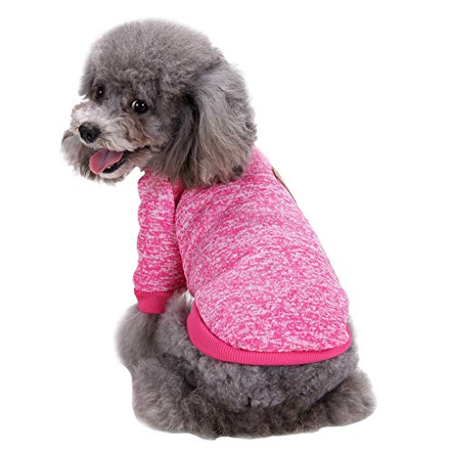 Fashion Focus On Pet Dog Clothes Knitwear Dog Sweater Soft Thickening Warm Pup Dogs Shirt Winter Puppy Sweater for Dogs (Rose red, M)