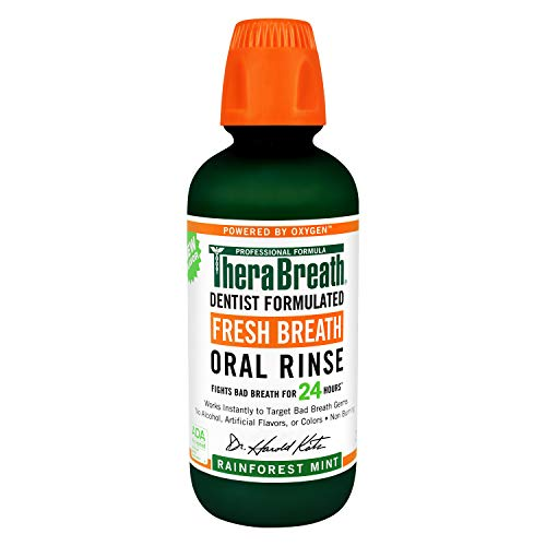 TheraBreath Fresh Breath Oral Rinse, Rainforest Mint, 16 Ounce Bottle