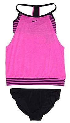 Nike Women's Tankini Athletic 2-Piece Swimsuit (Small, Pink Heather/Pink/Black)