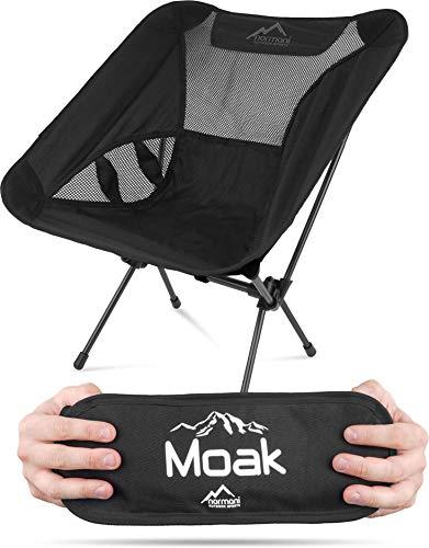 normani Ultraleichter Mini Campingstuhl MOAK 796 g! klappbarer Strandstuhl Anglerstuhl mit Aluminiumgestell - Stabiler Outdoorstuhl - Traglast: 135 Kg (330 lbs) Farbe schwarz