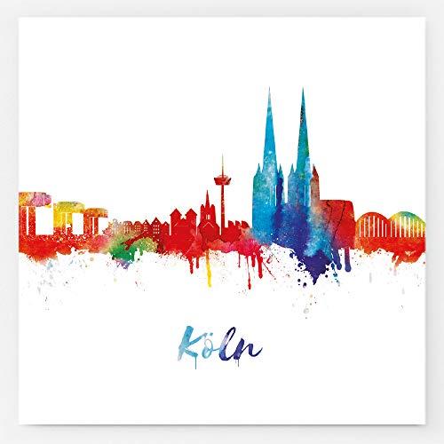 Kunstbruder Sticker Kölner Skyline Light 10,5x10,5cm - Aufkleber mit den schönsten Panoramabilder von den Sehenswürdigkeiten der Stadt Köln - 5er Set (div. Varianten)