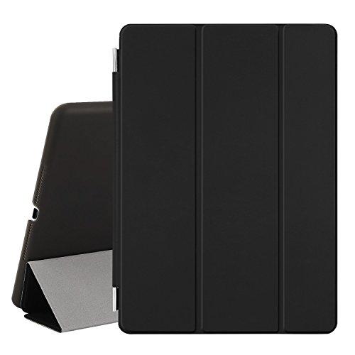 Besdata® iPad Air 2 Hülle - Ultra Dünn Edles Smart Cover Leder Hülle Schutz Hülle Tasche + Back Hülle für ipad air 2 ipad 6 - inkl. Bildschirmschutzfolie Reinigungstuch Stift mit Multi Ständer Auto Sleep Wake (Schwarz, iPad Air 2)
