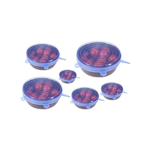xingyu 6/12pcs Silicone Lid Stretch Lids Universal Silicone Cooking Food Fresh Cover Microwave Cover Bowl Pot Lid Silicone Cover Pan Suitable for Dishes,Bowls (Color : 6pcs Blue)