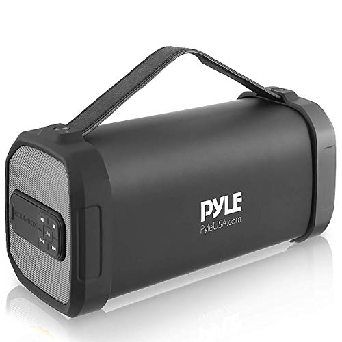 Pyle Wireless Portable Bluetooth Speaker-150 Watt Power Rugged Compact Audio Sound Box Stereo System with Rechargeable Battery, 3.5mm AUX Input Jack, FM Radio, Micro SD and USB Reader-PBMSQG9, Black
