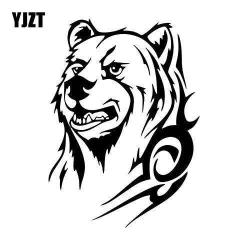 JYIP 12.9X17.8CM Grizzly Bear Stickers Truck Window Vinyl Car Sticker JdM Cartoon Animal Black/White C26-0032-white