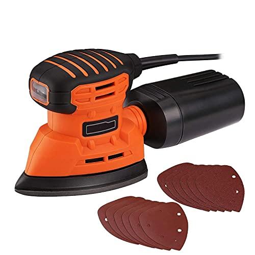 Lijadora Eléctrica, Lijadora Madera 350W 12000RPM, con Recogida de Polvo Eficiente, y 12 Lijas (80 y 180 Granos), Lijadora de Detalle Mouse, Conectada a Aspiradora de 35mm (Amarillo)