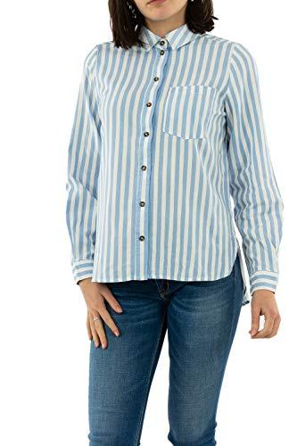 VERO MODA Damen VMHELENMILO LS Shirt Stripe WVN Hemd, Medium Blue Denim, XS