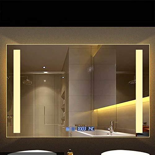Verlichte led-badkamerspiegel | verwarmd demister spiegelkussen | ingebouwde digitale klok zonder frame | horizontale of verticale ophanging, 60 x 80 cm, 70 x 90 cm