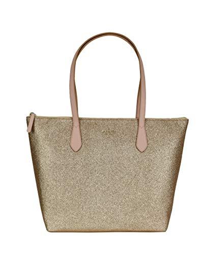 Kate Spade New York Joeley Glitter Large Womens Tote Bag (Gold Rose)