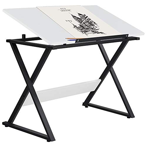 Yaheetech Drafting Table for Artists Art Desk Drawing Paninting Studying Table w Tilted Tabletop Art Craft Work Station for Adults Teens Home Office Use
