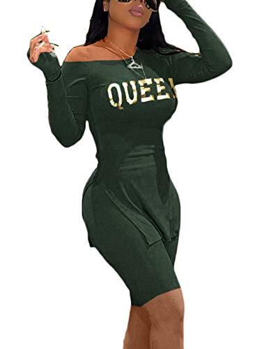 Sexy 2 Piece Women Clubwear - Knitted Long Sleeve Pullover + Biker Shorts Leggings Set Green XX-Large