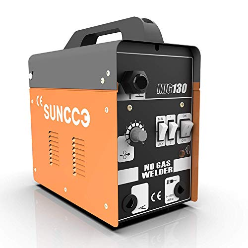SUNCOO MIG 130 Welder Flux Core Wire Automatic Feed Welding Machine No Gas 110 Volt Portable Little Welder Machine Yellow