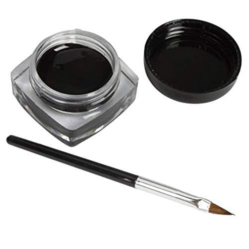 Dpatleten Outils de Maquillage de Gel d'eye-Liner de crème d'eye-Liner imperméable Noir avec Le Noir de Brosse