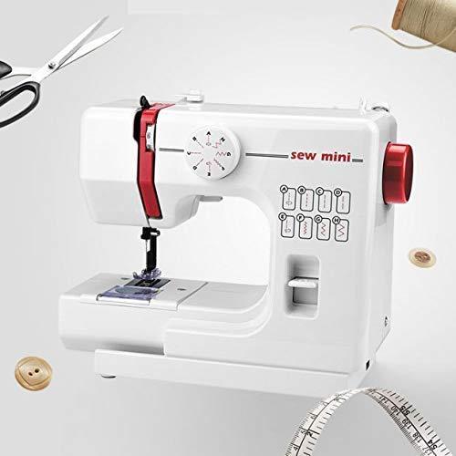 RVTYR Hogar Mini pequeño máquina de Coser, eléctrico Desktop Lock Edge Comer Grueso 6 Capas de Dril de algodón / 8 Tipos de Huellas de Rosca Maquina Coser Tradition