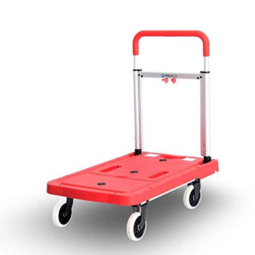 GuoEY Leichte Aluminium-Plattform-LKWs Multifunktionaler Wagen Tragbarer Picknickwagen 4-Rad Faltbar - Ladung 150 kg, 3 Farben (Farbe: Rot)