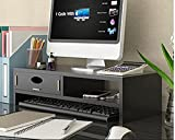 Soporte para monitor con cajones organizadores de almacenamiento, organizador de escritorio ergonómico para monitor para ordenador, portátil, soporte para impresora, color negro