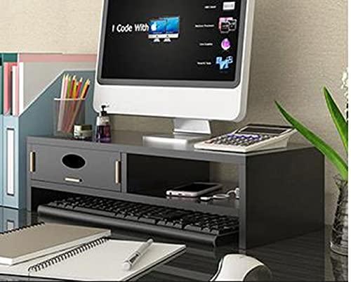 versátil para monitor Elevador ergonómico para computadora con cajones organizadores de almacenamiento Elevadores de estante para computadora portátil de escritorio Soporte para teléfono celular para