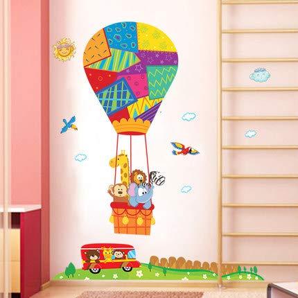 Muursticker Vinyl Art Decals DIY voor Home Decor Verwijderbare Woonkamer Decoratie Mural Creativeremovable Meerdere Dieren Kleur Hot Air Balloon Studie Kamer Slaapkamer Decoratie Achtergrond Art 60 * 90Cm