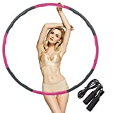 Hula Hoop for Adults Skipping Rope Weighted Hoola Hoop for Exercise Jump Rope for Weight Loss Detachable Design-Professional Soft Fitness Hoola Hoop Collapsible Adjustable 2.42lbs/1.1kg/Pink-Gray