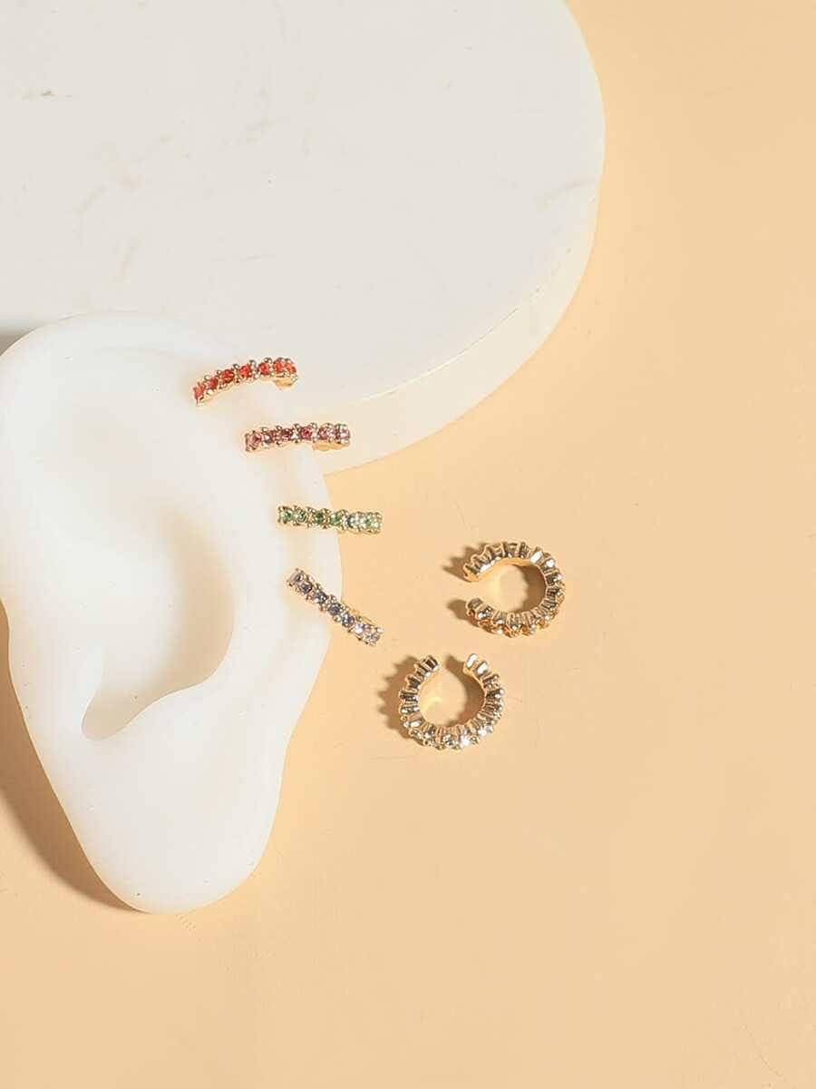 Sensecrol Hoop Earrings 6pcs Colorful Rhinestone Inlaid Ear Cuff (Color : Multicolor)